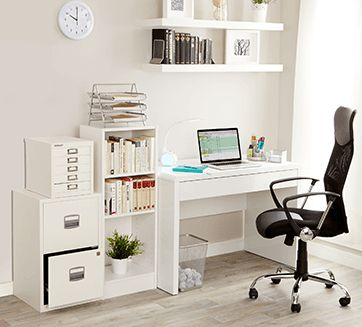 Container Store's one desk with endless possibilities is complimented with the use of two Bisley units. The white five drawer MultiDrawer and the Personal Filing unit. This would look great in your home too.