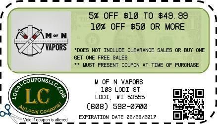 Coupon in Poynette WI for M of N Vapors from Local Coupons LLC.