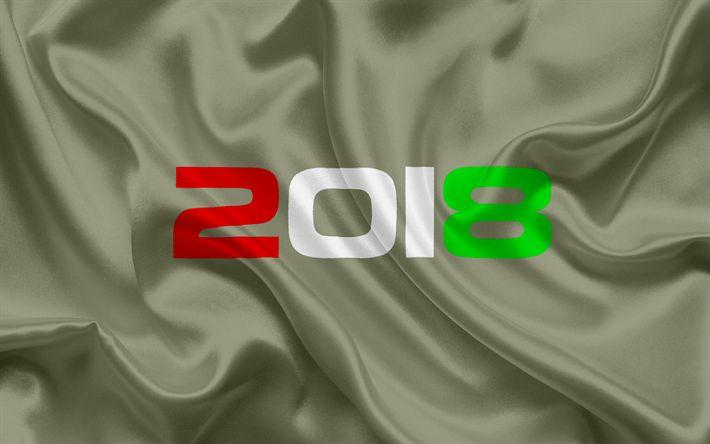 Herunterladen hintergrundbild 2018 jahr 2018 konzepte, italienische flagge, neues jahr, seidige textur, italien