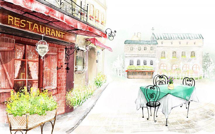 Скачать обои город, рисунок, ресторан, здания, раздел город в разрешении 1440x900