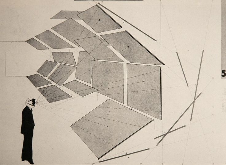 Herbert Bayer, Dessin pour une exposition de photos d'architecture, in Perspective und Schnitt, 1930, Bauhaus.