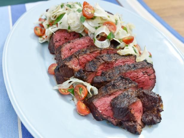 Get Sunny's Easy Grilled London Broil with Tomato and Fennel Salad Recipe from Food Network