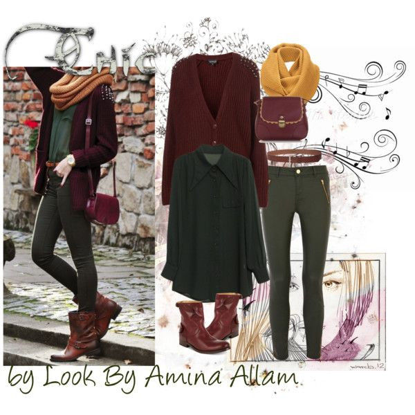 """Green and burgundy"" by Look By Amina Allam"