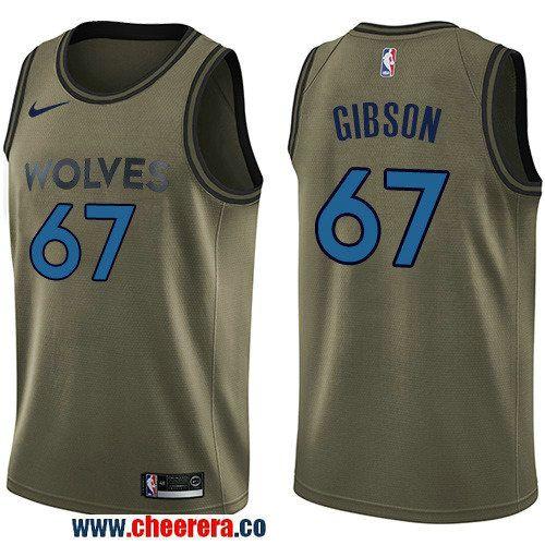 Men's Nike Minnesota Timberwolves #67 Taj Gibson Green Salute to Service NBA Swingman Jersey