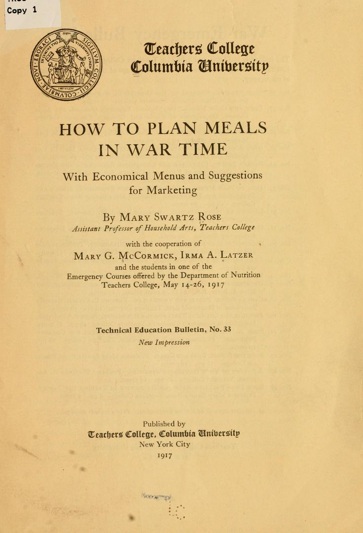 How To Plan Meals In War Time By Mary Swartz Rose - (1917) - (archive)