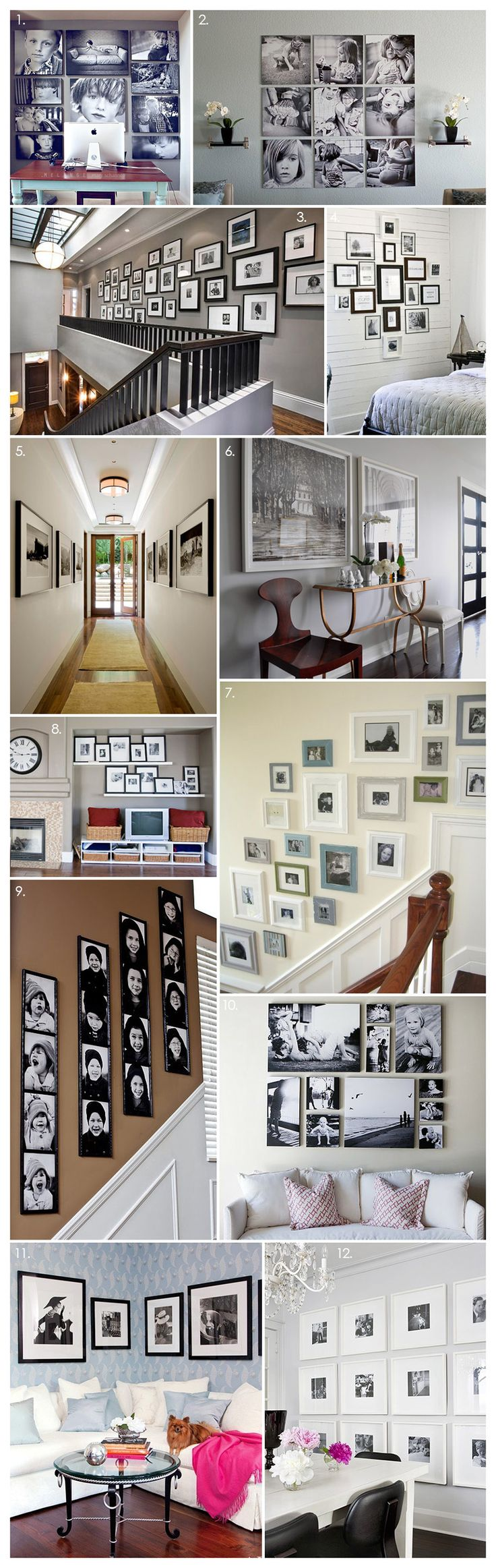 More beautiful black & white photography displays - I love option #7 for my living room by mixing up the blues, greens, whites & off white frames, it'll maintain my beach theme :)