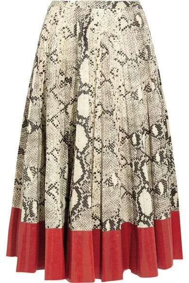 Gucci - Pleated Snake-effect Leather Skirt - Red - IT44