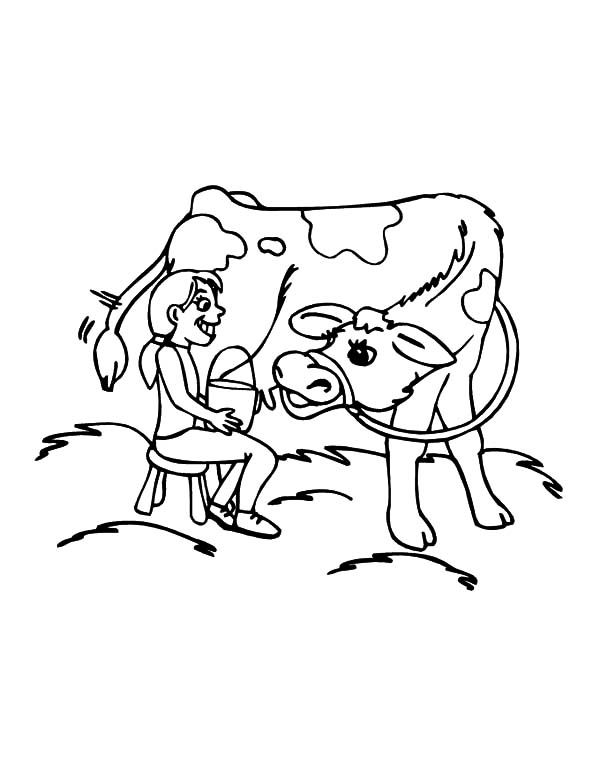 Cows Girl Want To Milking Cows Coloring Pages