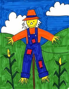 Art Projects for Kids: Scarecrow Drawing. Color co ntrast between shapes is encouraged.