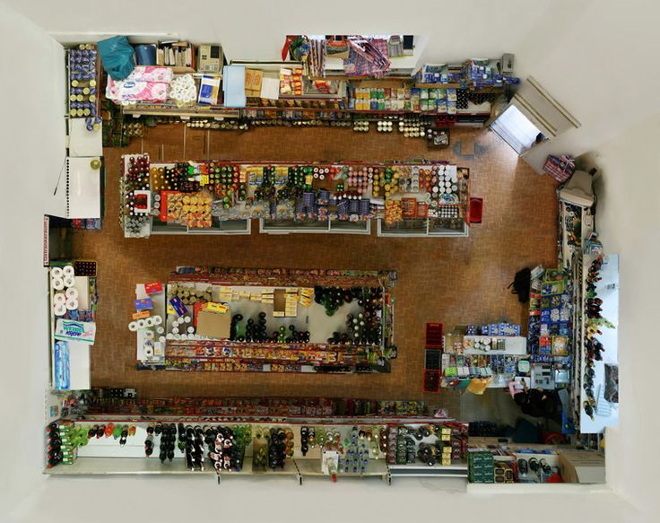 New perspective of your average supermart. Aerial view. Menno Aden - Room Portraits (2008)