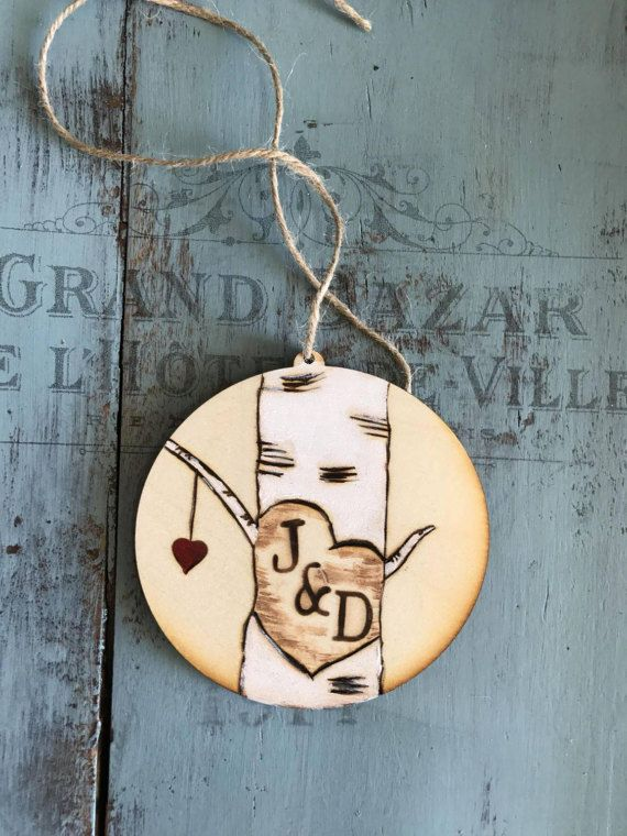 5th Anniversary Wood Gift Rustic Wedding Decor Rustic - birch tree themed wedding gift - hand painted ornaments - personalized ornaments - kerley crafts - carved heart in tree