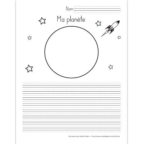Fichier PDF téléchargeable En noir et blanc 2 pages L'élève dessine et décrit la planète de son choix ou de son invention. Le fichier contient une page avec des lignes trottoirs et une page avec des lignes doubles selon votre niveau.