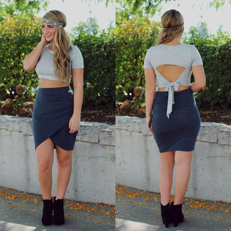 Grey T-Shirt Tie Back Crop Top- Dress it down or dress it up, this crop top is a summer fave!  -uoionline.com