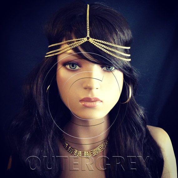 New Head Chain BOHO Style HeadChain Hair Jewelry Black Gold Silver Fashion Headpiece HC-005 on Etsy, 44.19 ₪