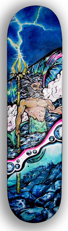 Mermaid Decor | Neptune | Mermaid Painting | Poseidon | Skateboard Decor | Greek Mythology | Surf Art | Little Mermaid | Atlantis | Triton