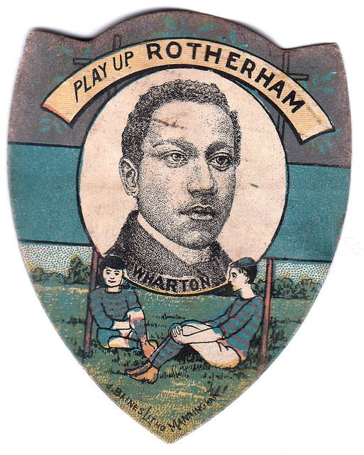 """Sports Card Forum - Top 50 Football Cards (Mostly Vintage) : #6. c1893 J. Baines & Son Shield Arthur Wharton. Arthur Wharton is widely recognized as the first black professional footballer (preceded only by Andrew Watson, a black amateur player). In 1886, at the age of 20, Wharton had become the """"fastest man in the world"""" by running 100 meters in 10 seconds. Shortly thereafter, he signed a contract with Preston North End, one of the top teams in the world at the time. In those days, a…"""