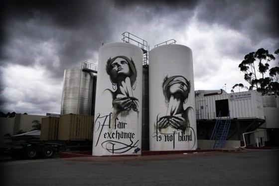 Faith47 on 2 wine tanks on Fairhills wine farm (proudly South African)