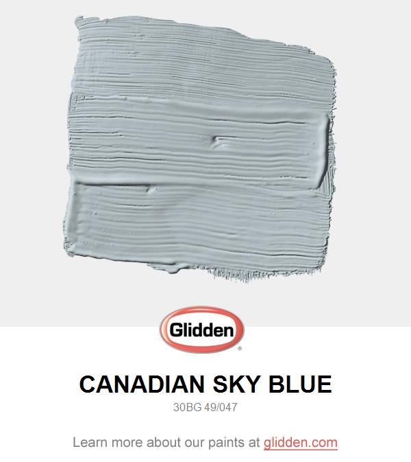 A beautiful blue grey can be used as a main wall color for any desired space.  Highlight with darker charcoal furniture and accessories. View this Glidden paint color, and picture it in your home at https://www.glidden.com/colors/grey-charcoal/canadian-sky-blue