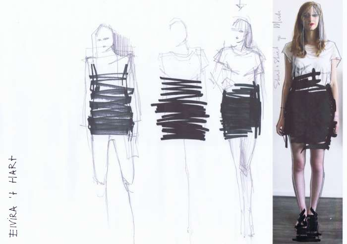 """Fashion Sketchbook - fashion design drawings & development // """"Wearable Drawings"""" collection by Elvira 't Hart"""