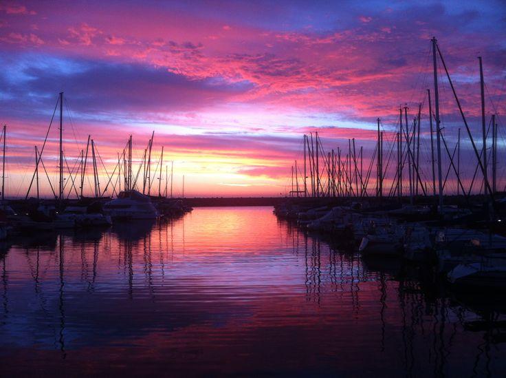 The Mykonos marina at sunset. #Mykonos #BluBluLounge #RocaCookery #Marina #Sunset