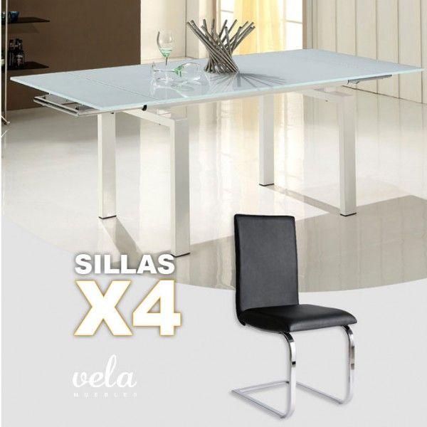Conjunto de para comedor extensible en cristal blanco puro for Conjunto mesa extensible y sillas comedor
