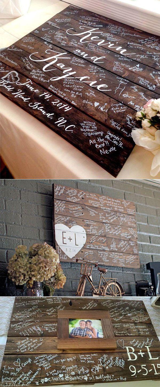 unique wedding guest book wood sign board ideas
