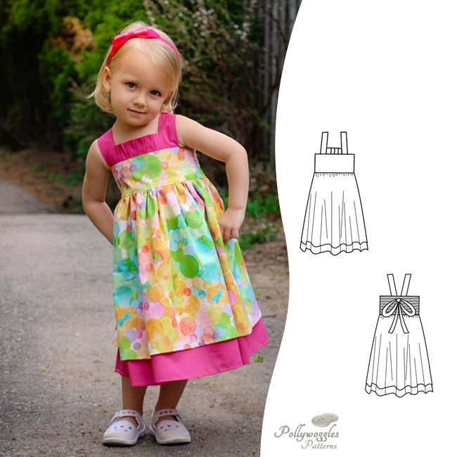 The Daphne Marie pdf sewing pattern by Pollywoggles is a simple but stunning dress for girls.