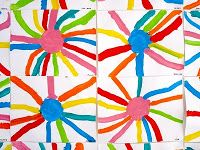 Le Journal de Chrys: ECOLE. Graphisme# à partir d'une gommette : bandes soit peintes, soit collées. On peut y ajouter un graphisme au choix. Travail sur les lignes et les soleils.