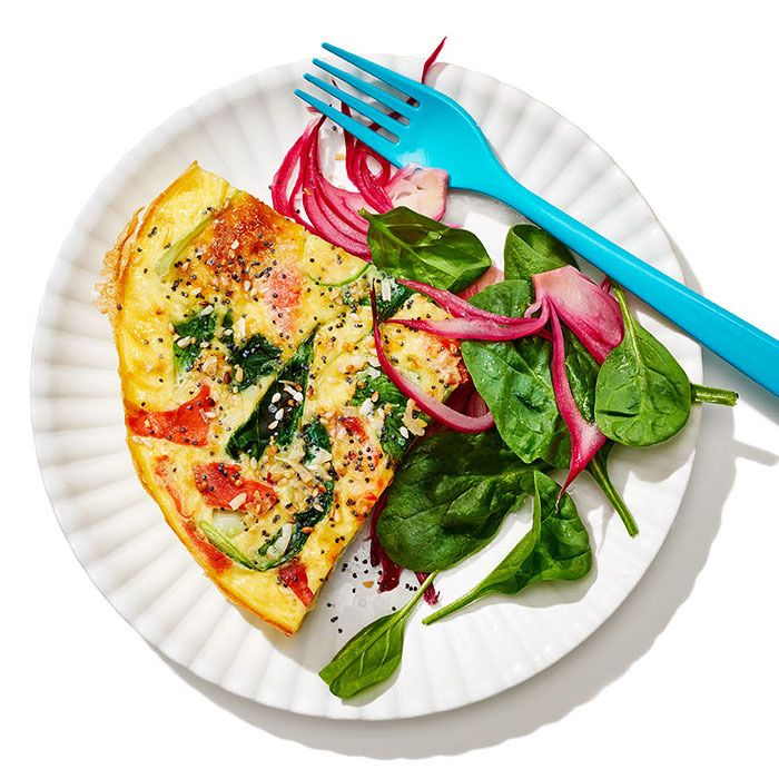Smoked Salmon Frittata with Bok Choy, Pickled Red Onions, and Everything-Bagel Spice
