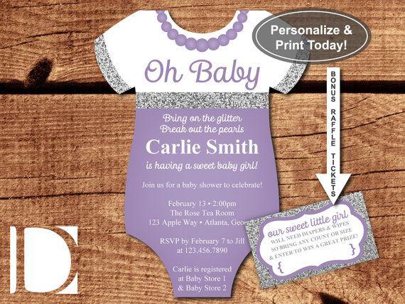 Oh Baby Shower Invitation, Onesie Invitation, Pearls, Glitter, Purple, Silver…