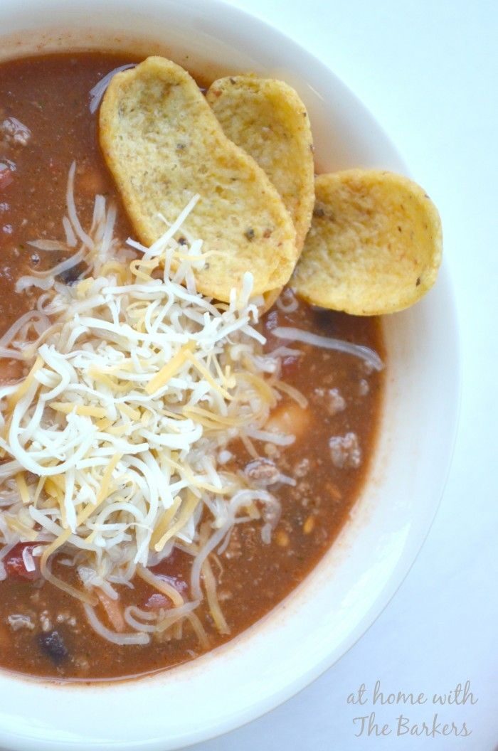 Easy to make Taco Soup is perfect for Super Bowl or Crowd for dinner. #Superbowl #recipe