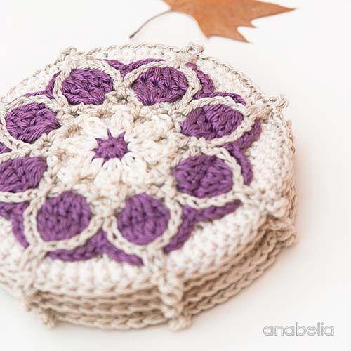 Winter Flowers Crochet Coasters