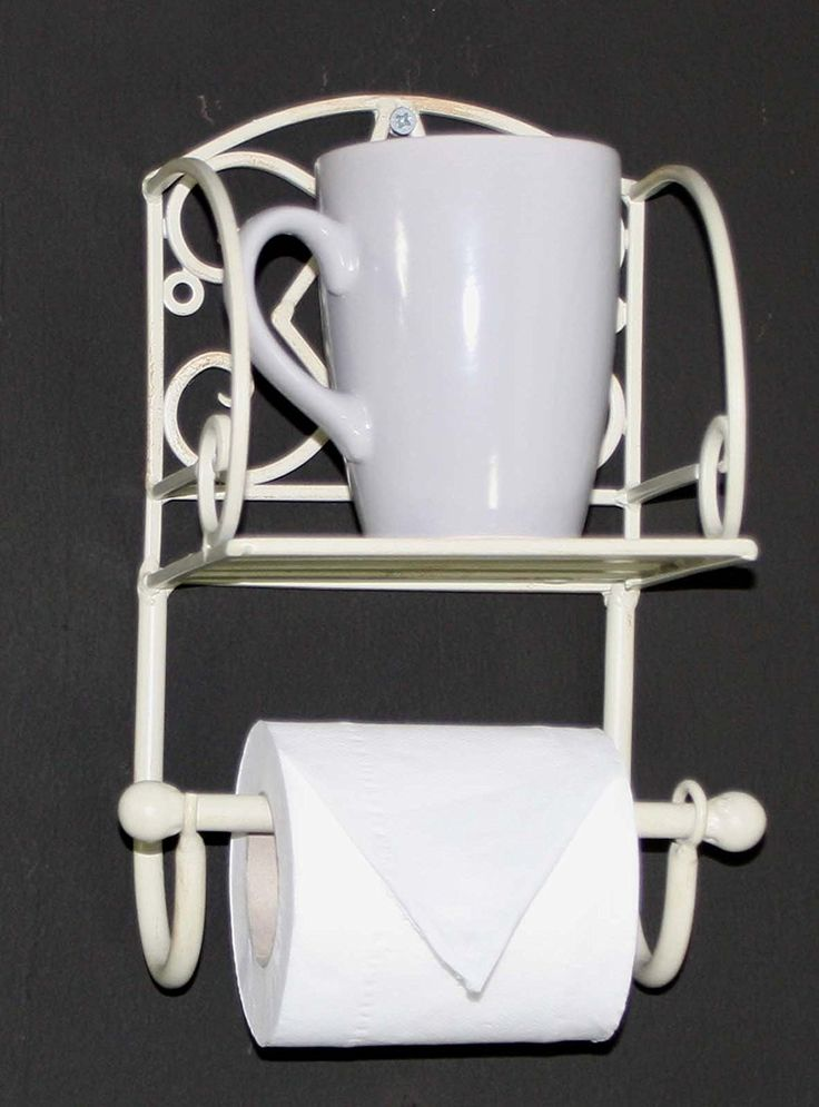Distressed Cream Metal Toilet Roll Holder With Shelf