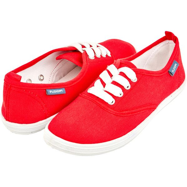 Women's Floopi Women's Lace-Up Canvas Basic Sneaker Shoes ($8.99) ❤ liked on Polyvore featuring shoes, sneakers, fashion sneakers, red, laced sneakers, lace up shoes, canvas sneakers, lace up sneakers and red trainers