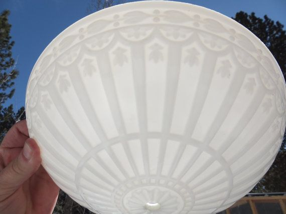 Beautiful Vintage Ceiling Light Cover-White Milk by gotRUSTandMORE