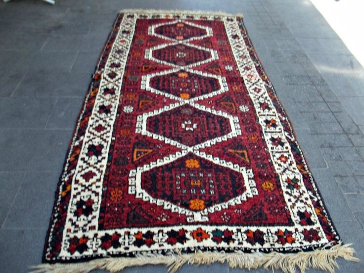 "49'' x 96.5"" Handwoven Runner, Long Hallway Kilim,Vintage Wool Corridor Red Rug  #Traditional"