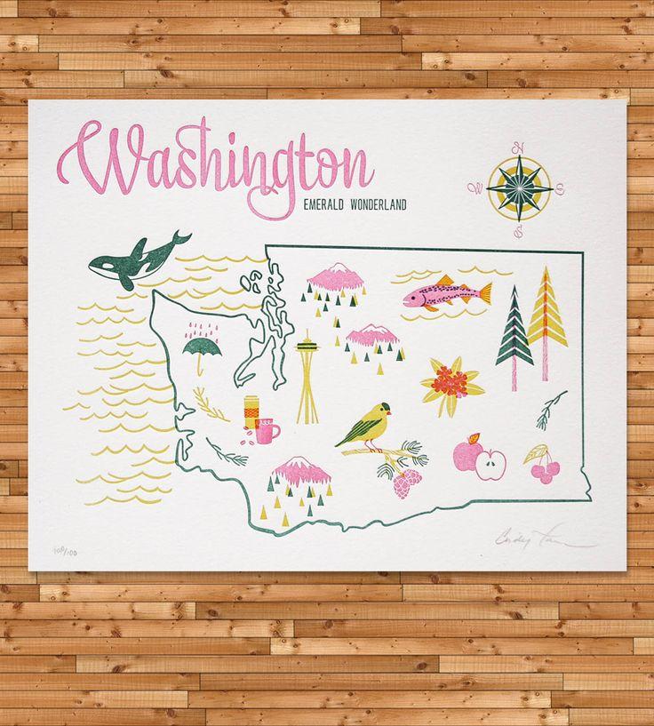 Vintage-Inspired Washington Map Print | Art Prints