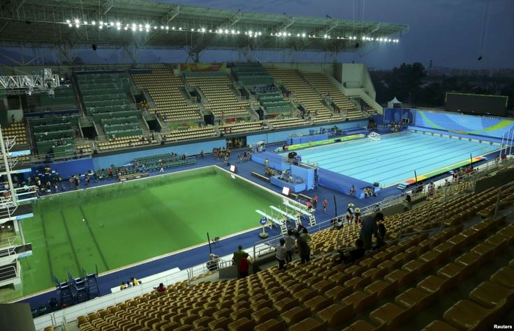 Green pool in the Aquatics Center at the Olympic Games in Rio de Janeiro