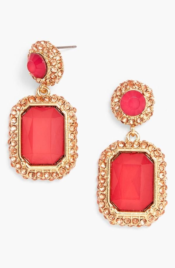 Deep pink and gold drop earrings will look gorgeous with an up-do hairstyle. Perfect for prom!