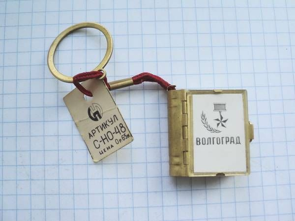 VINTAGE USSR ACCORDION MINI PHOTO BOOK KEYCHAIN STALINGRAD CITY VIEWS LABELLED