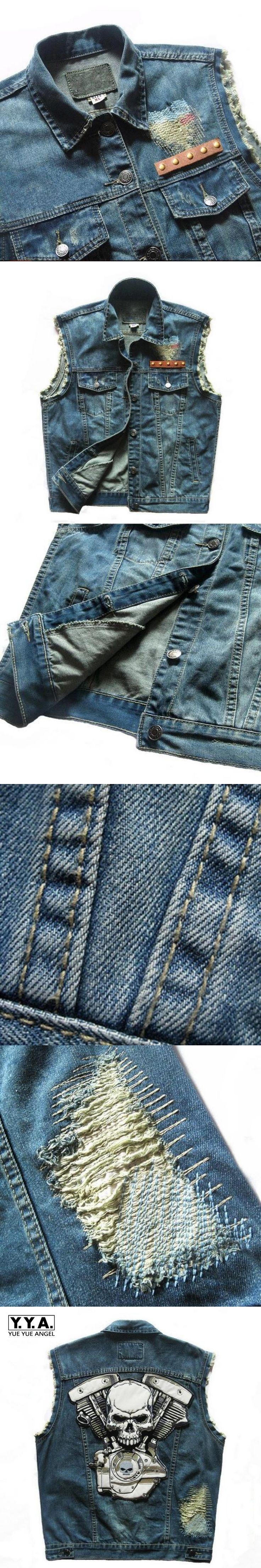 Top Brand Punk Cowboy Fashion Mens Skull Badge Hole Motorcycle Vests Waistcoats Cotton Male Sleeveless Jean Jackets Coat 5XL