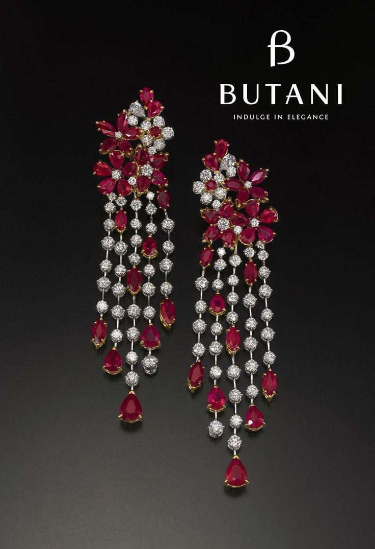 Dainty bloom of Ruby and Diamond Earrings #Butani #ButaniJewellery #Bridal #VIP #Ruby #Diamonds