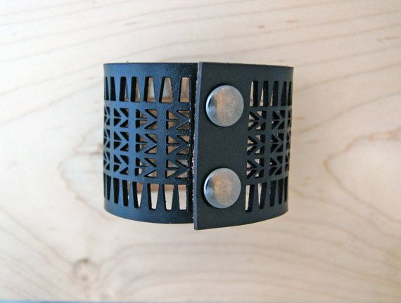 Arrow Lasercut Leather Bracelet  Black by CurareSweets on Etsy, $35.00