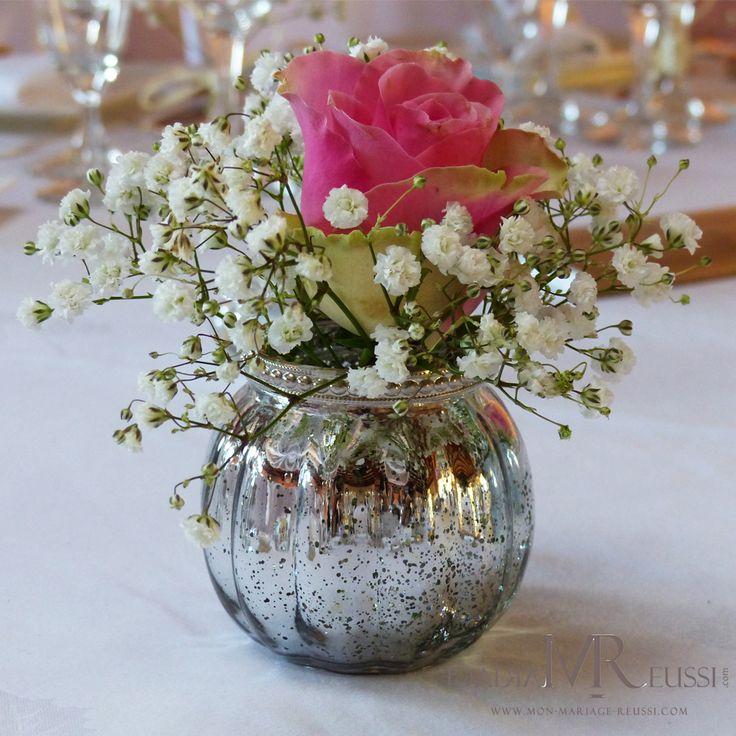 Gypsophile & rose dans mini photophore de table