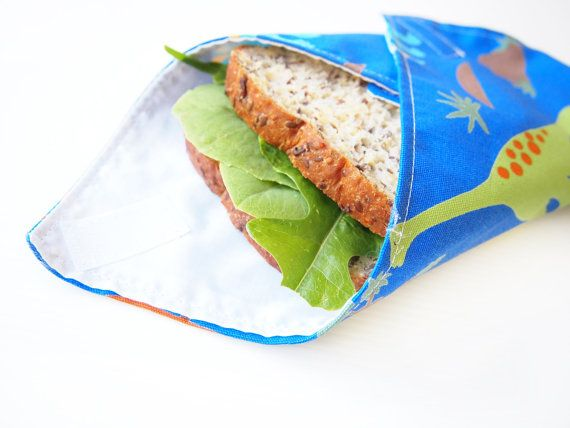 Sandwich Wrap with Food-Safe Nylon Lining  Blue by piggledee