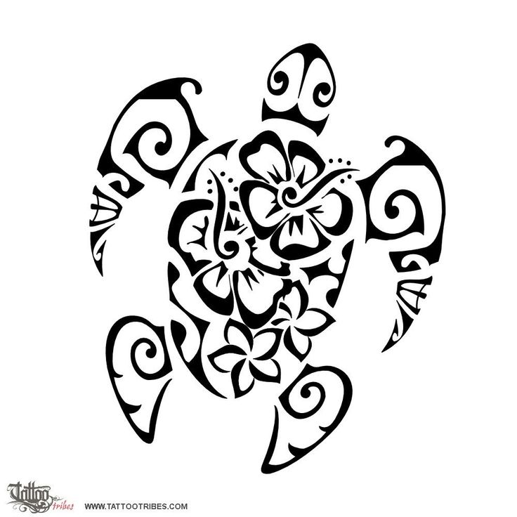 Tatuaggio di Tartaruga e fiori, Femminilità tattoo | Flowers turtle. Femininity. The turtle is a symbol for family, protected here by the tiki. The inner elements are frangipani and hibiscus flowers, representing beauty and femininity, while the sea shells that[...] http://www.tattootribes.com/index.php?newlang=English&idinfo=7321