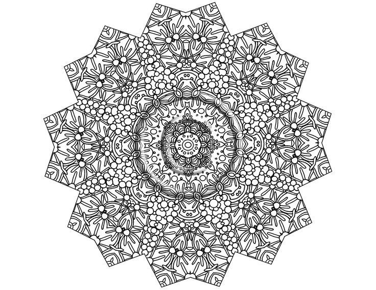 Instant PDF Download Coloring Page Hand Drawn Zentangle