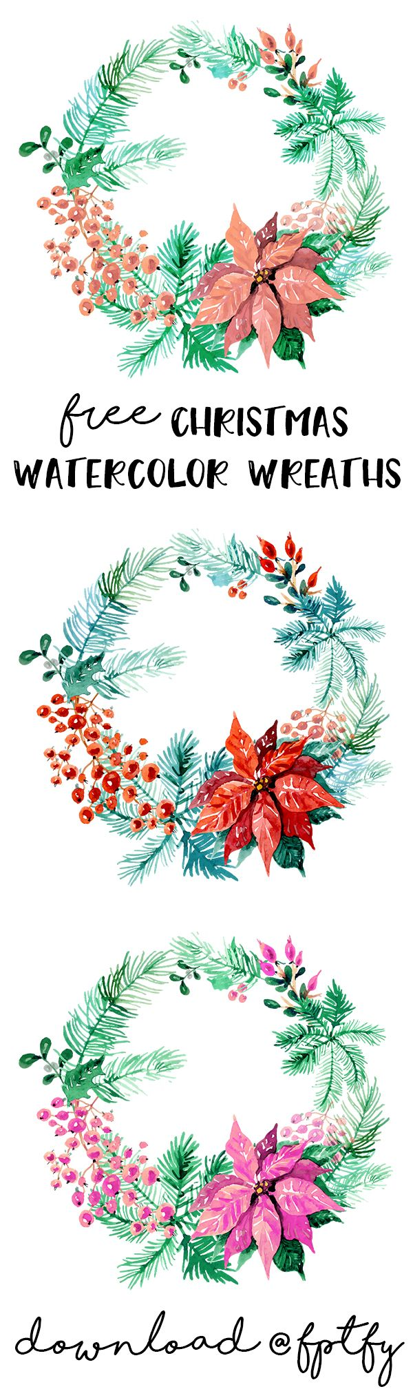Free christmas watercolor wreaths