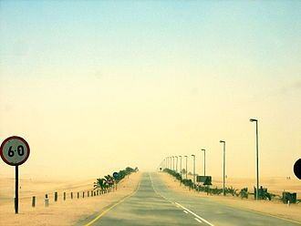The B2 between Swakopmund and Walvis Bay, Namibia