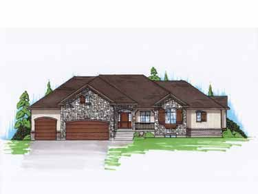 French country rambler home hwbdo74748 new american for Traditional american house styles